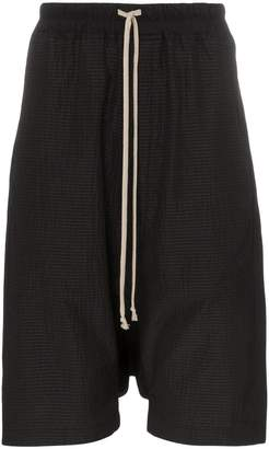 Rick Owens seersucker wool drop crotch shorts