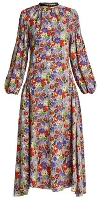 Prada Morocaine Primrose Floral Print Silk Dress - Womens - Multi