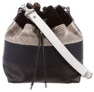Proenza Schouler Snakeskin-Trimmed Medium Bucket Bag