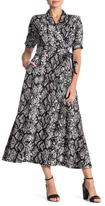 Calvin Klein Snakeskin Pritnt Wrap Maxi Dress