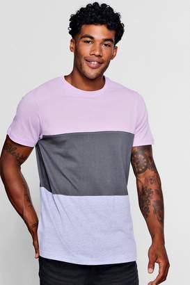 boohoo Crew Neck Colour Block T-Shirt