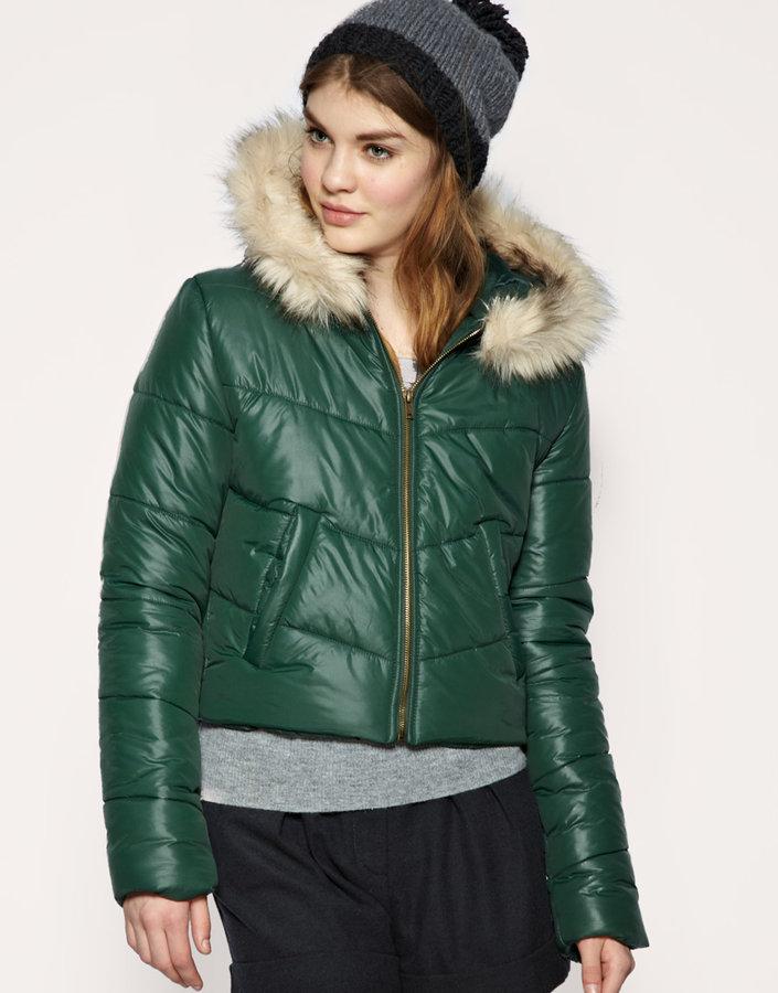 ASOS Crop Puffer Jacket With Faux Fur Trim