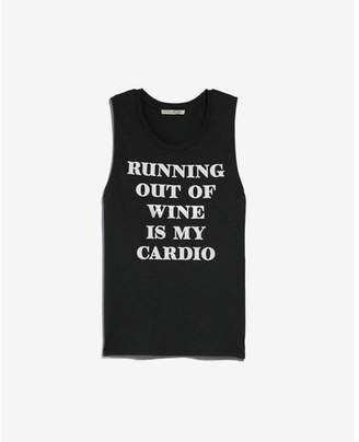 Express running out of wine graphic muscle tank