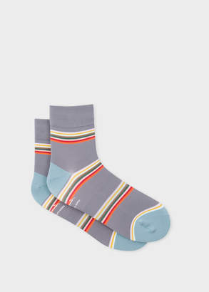 Paul Smith Mens Grey Block-Stripe Cycling Socks