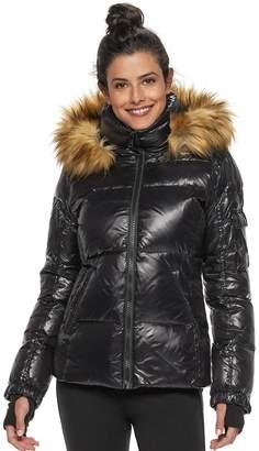 24ba3ebd206 S13 Women s Faux-Fur Hooded Glossy Down Puffer Jacket
