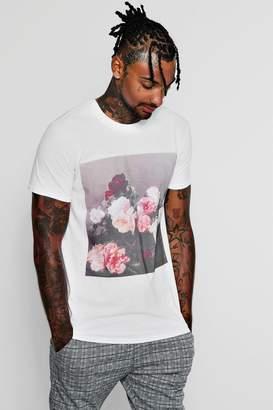 boohoo New Order Flower Photo Print T-Shirt