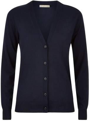 Burberry Check Detail Merino Wool Cardigan