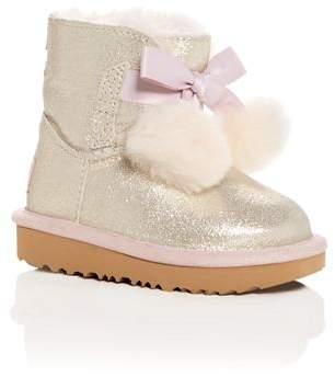 UGG Girls' Gita Metallic Shearling Pom-Pom Boots - Walker, Toddler