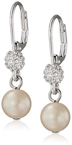 "Carolee Pearl and Crystal Basics"" Simulated Pearl Drop Earrings"