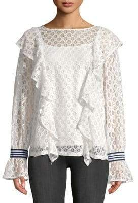 Kensie Ruffled Chantilly Lace Blouse