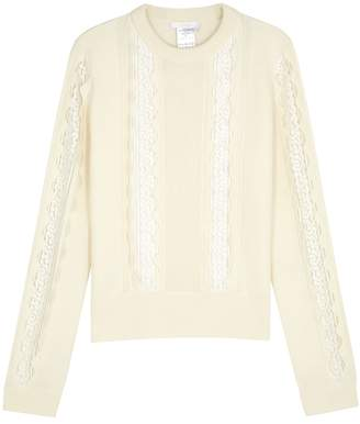 Chloé Ivory Lace-trimmed Wool