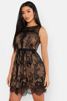 boohoo Lace Contrast Skater Dress