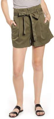 DL1961 Camile Tie Paperbag Waist Stretch Cotton Shorts