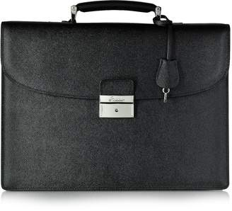 Pineider City Chic Black Leather Briefcase