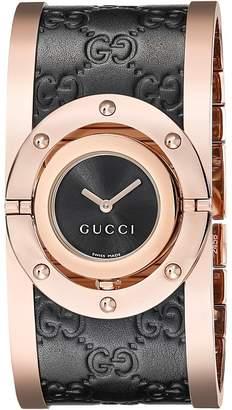 Gucci Twirl Black Rose PVD Black Calf GG Leather