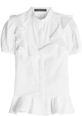 Alexander McQueen Cotton Blouse with Flutter Detail