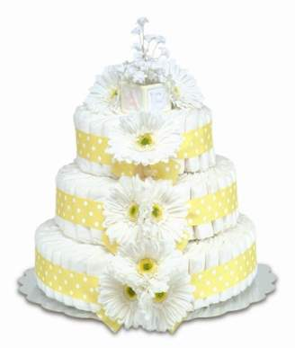 Bloomers Baby Baby Diaper Cake Classic Yellow Gerbera Daisies 3-Tier by