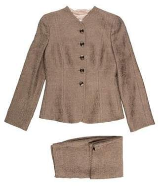 Armani Collezioni Structured Wool Skirt Suit Beige Structured Wool Skirt Suit