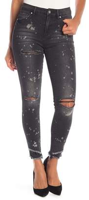 Rachel Roy Distressed Bleach Splattered Hi-Rise Skinny Jeans