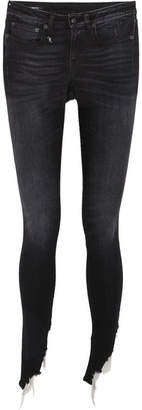 R 13 Kate Frayed Mid-rise Skinny Jeans - Dark denim