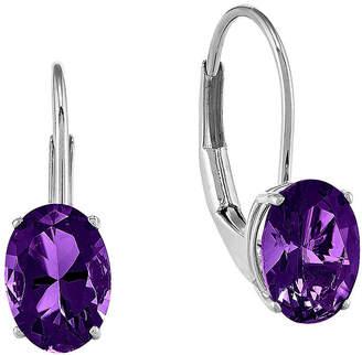 FINE JEWELRY Oval Genuine Amethyst 14K White Gold Leverback Earrings