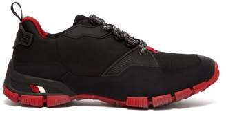 Prada - Cross Section Leather And Mesh Trainers - Mens - Black