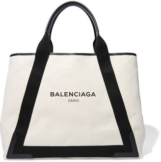 Balenciaga - Cabas Leather-trimmed Canvas Tote - Ecru $965 thestylecure.com