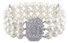 Sonatina 14K White Gold, 7-7.5MM Akoya Pearl & Diamond Three-Row Bracelet