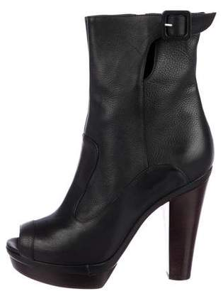 Sonia Rykiel Leather Peep-Toe Boots