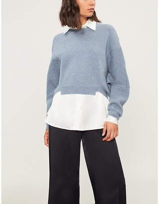 Stella McCartney Cropped wool and alpaca-blend waffle-knit jumper