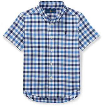 Ralph Lauren Short-Sleeve Check Performance Oxford Shirt, Size 2-4T