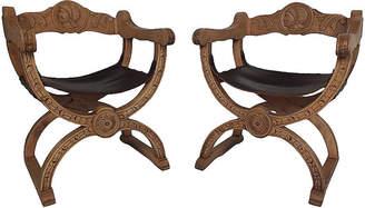 One Kings Lane Vintage Pair of Spanish Savonarola Side Chairs - Castle Antiques & Design