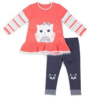 Little Lass Little Girl's Two-Piece Peplum Sweater & Graphic Leggings Set