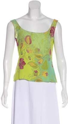 Akris Silk Floral Print Sleeveless Top