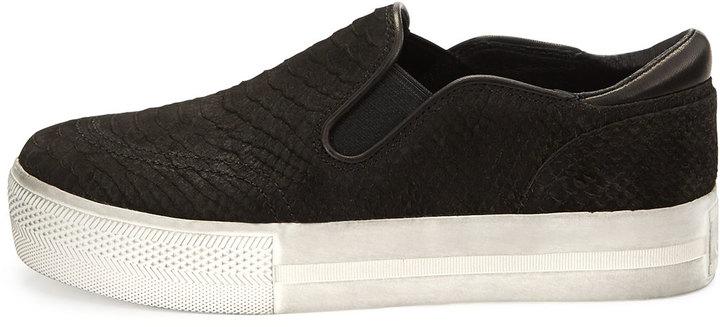 Ash Jungle Platform Python-Print Skate Sneaker, Black