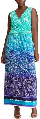 Chaps Plus Size Paisley Surplice Maxi Dress