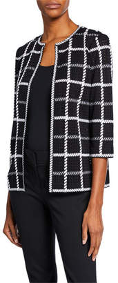 Misook Plus Size 3/4-Sleeve Loop Stitch Checkered Jacket