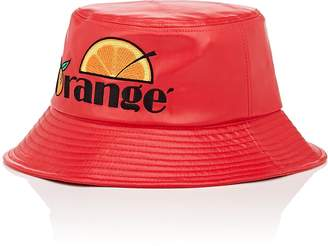 "D-ANTIDOTE Women's ""Orange""-Embroidered Faux-Leather Bucket Hat"