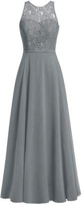 Cdress Lace Cowl Neck Chiffon Long Bridesmaid Dresses Backless Prom Foraml Gowns US 18W