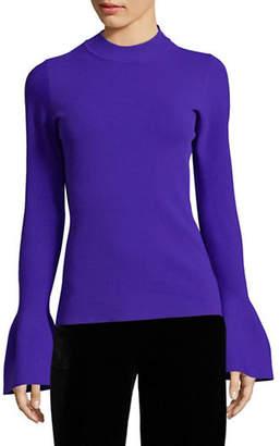 Diane von Furstenberg Flutter-Sleeve Mock Neck Top