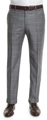 Zanella Parker Flat-Front Sharkskin Windowpane Trousers, Charcoal $525 thestylecure.com