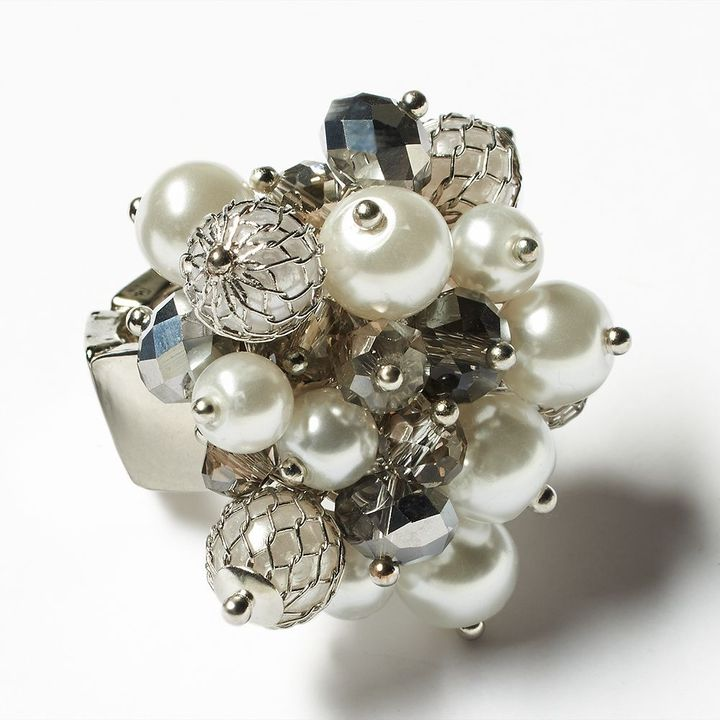 Vera Wang Simply vera tone simulated pearl & bead cluster stretch ring