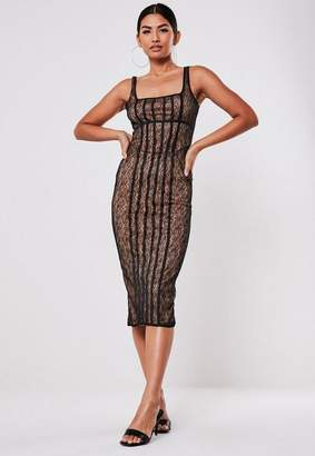 Missguided Black Lace Corset Square Neck Midi Dress