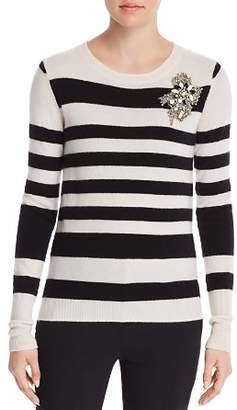 Badgley Mischka Embellished Stripe Cashmere Sweater