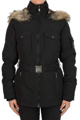 Brunate Featuring Black Belted Fur Trim Hooded Parka