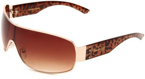 UNIONBAY Union Bay Women's U472 Shield Sunglasses,Gold Frame,Brown Gradient Lens,One Size