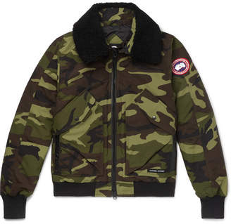 Canada Goose Bromley Shearling-Trimmed Camouflage-Print Shell Down Bomber Jacket - Men - Army green