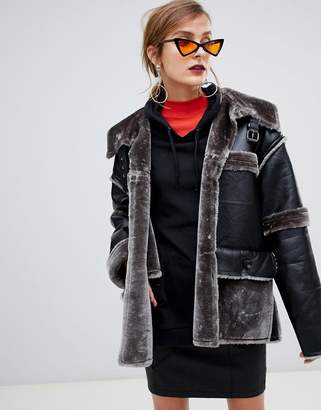 story. Of Lola PU Aviator Jacket With Contrast Faux Fur Trim