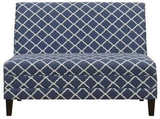HomeFare High Back Armless Upholstered Blue Settee