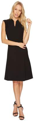 Ellen Tracy Solid Fit and Flare Dress with Front Zipper Detail Women's Dress